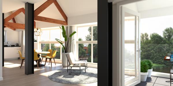 Visual met zwarte spanten in woning